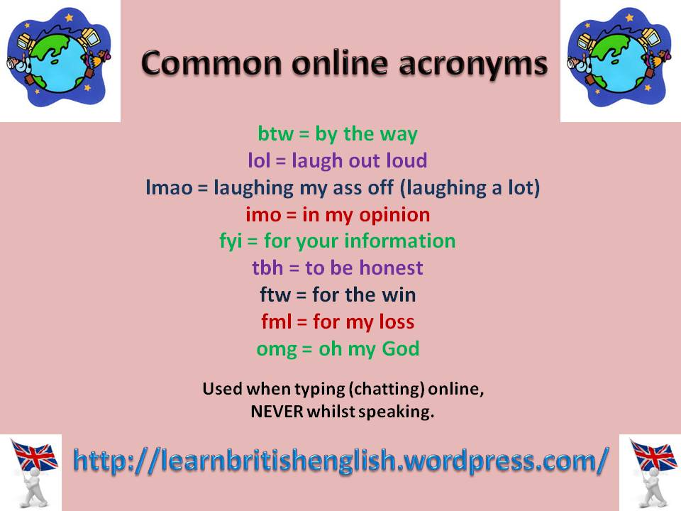 common online acronyms in english  u00bb learn british english